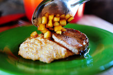 Pork Chops with Apples & Creamy Bacon Cheese Grits