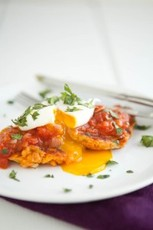 Sweet Potato Cakes with Curried Tomato Sauce and Poached Egg