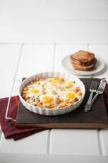 Roasted Sweet Potatoes, Gorgonzola, and Baked Eggs