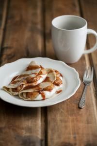 Barley Crepes with Yogurt and Cinnamon-Honey Bananas