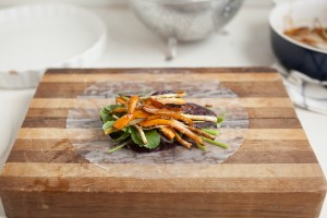 Soy-Glazed Roasted Carrot Spring Rolls