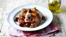 Miso chicken with walnuts and grapes