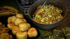Saltfish and ackee with fried dumplings