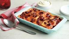 Lime and cranberry bread and butter pudding