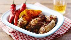 Sticky jerk wings with sugared oranges