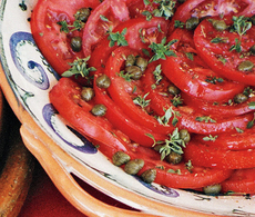 Tomato Salad with Shallot Vinaigrette, Capers, and Basil