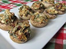 Artichoke & Sun-Dried Tomato Stuffed Mushrooms