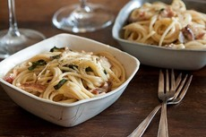 Bacon, Brie and Basil Pasta