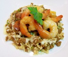 Cajun Shrimp Scampi over Dirty Rice