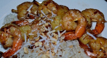 Grilled Shrimp with Peanut Sauce and Coconut Ginger Rice