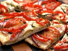 Roasted Veggie and Goat Cheese Flat Bread