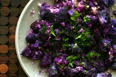 fork-crushed purple potatoes
