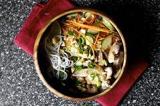 cold rice noodles with peanut-lime chicken