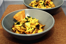 migas with tomato-chipotle coulis