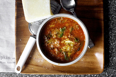 lentil soup with sausage, chard and garlic