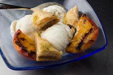 Baklava Sundae with Grilled Peaches Recipe