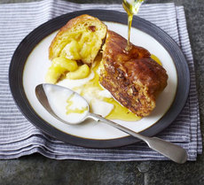 French toast stuffed with banana & maple syrup