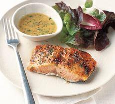 Glazed salmon with mustard dill sauce