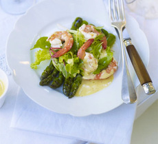 Griddled asparagus with prawns & rouille