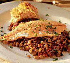 Hot lentils, cold trout
