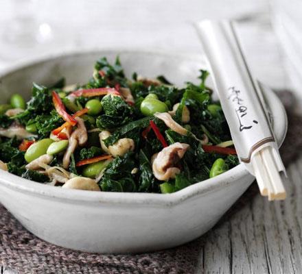 Kale, mushroom & cashew stir-fry