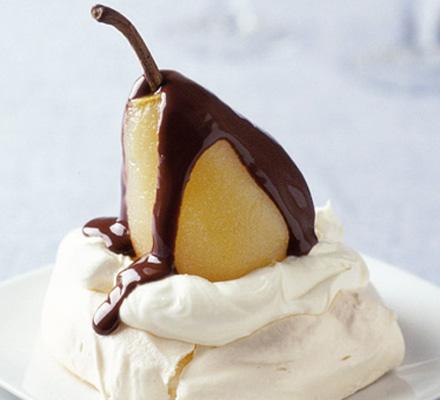 Pear & chocolate mini Pavlovas
