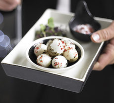 Quails' eggs with pink peppercorn salt