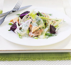 Smoked trout salad with fennel, apple & beetroot