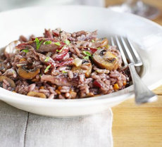 Red wine risotto with duck & garlicky mushrooms