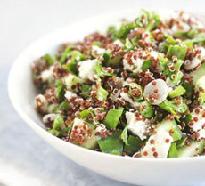 Red quinoa, feta & spinach salad