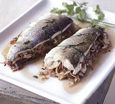 Roast sea bass with chilli & lime leaves