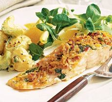 Roast salmon with spiced coconut crumbs