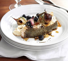 Roast halibut with rosemary, shallots & black olives