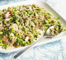 Zingy salmon & brown rice salad