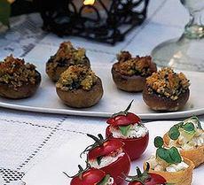 Cheese & garlic-filled mushrooms