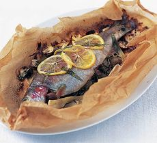 Baked trout with white wine & fennel