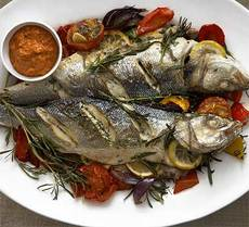 Baked sea bass with romesco sauce