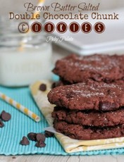 Brown Butter Salted Double Chocolate Chunk Cookies