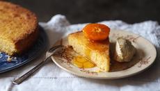 Almond and lemon polenta cake with orange mascarpone
