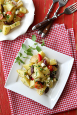 Greek Potato Salad Recipe with Feta Cheese, Kalamata Olives & Oregano Dressing