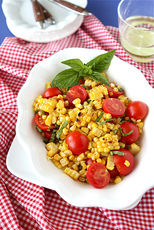 Charred Corn Salad Recipe with Cherry Tomatoes & Basil