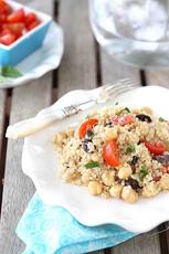 Quinoa Salad with Chickpeas, Kalamata Olives & Mint