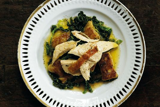 Roast chicken with truffled gnocchi and sage butter recipe