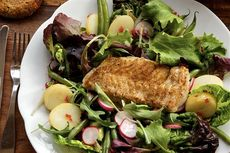 Crispy cod with rye and lingonberry dressing recipe