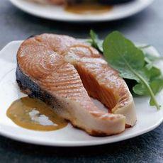Maple-Smoked Salmon Steaks with Maple-Mustard Sauce
