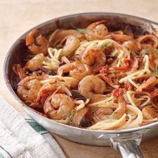 Pasta with Fennel, Tomatoes, Olives and Shrimp