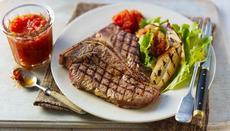 Chargrilled T-bone steak with tomato chilli chutney