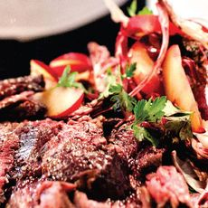 Flank Steak with Radicchio and Plum Salad