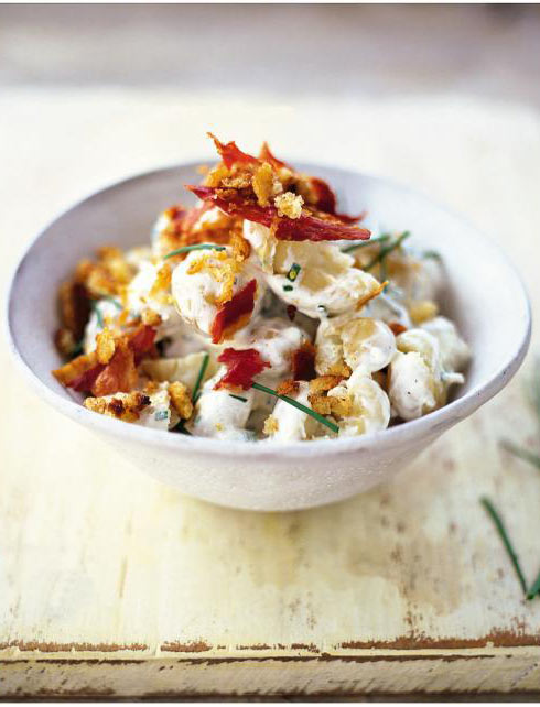 New potato salad with soured cream, chives & pancetta