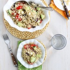 Quinoa Greek Salad with Tomatoes, Cucumber & Feta Cheese